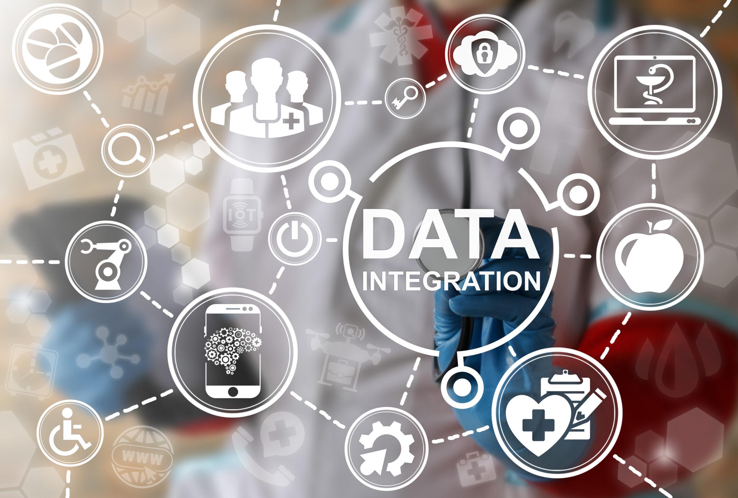 Big data integration medicine concept. Medical information database integrate. Health care server cloud integrated. IT, Smart, IoT, Computing, Robotic healthy web technology
